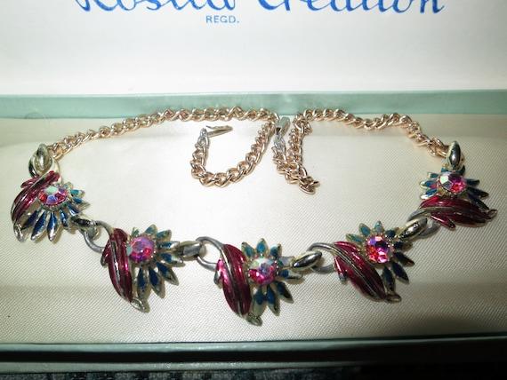 Lovely vintage   AB rhinestone enamel necklace