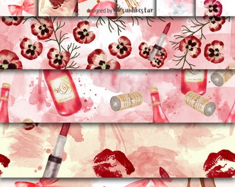 Valentines Love Digital Paper Pack: Valentines Digital pattern, love pattern, love background, valentines day, romance wine, rose watercolor