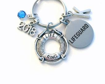 Graduation Gift for Lifeguard Keychain, Life Preserver Key Chain, New Swim Instructor Birthstone Initial Present Keyring 2018 Guard teacher