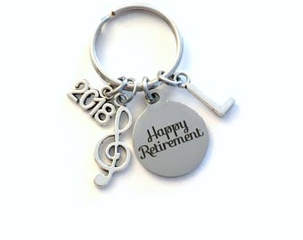 Retirement Gift for Music Teacher Keychain, 2018 Musician Key chain, Band Keyring Retire Initial letter present men women treble note him