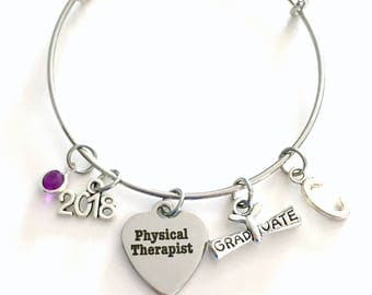 PT Graduation Gift, Physical Therapist Therapy Grad Charm Bracelet, 2018 Silver Bangle Jewelry Graduate letter birthstone her women girl HER