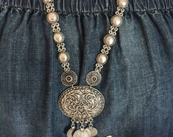 Turkish Silver Long Coin Statement Necklace Bohemian Festival Gypsy Global Style