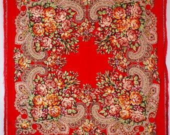 Red shawl 150cmx150cm  / Foulard rouge