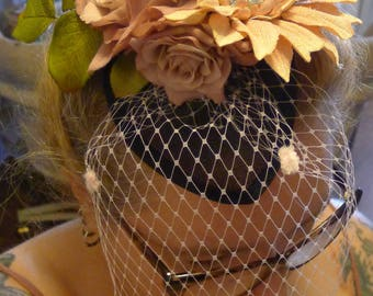 50s Flowers Fascinator Powder Pink  on a Black Base. Romantic , Victorian , Pin Up Retro Vintage Look Rockabilly Dita Antique Style OOAK! I