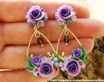 Floral earrings lilac roses Earrings bride Lilac wedding Flower earrings Long drop earrings Polymer clay roses Wedding earrings