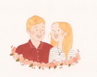 Custom Portrait - Marker Personalised family couple portrait - Cute boyfriend girlfriend gift idea Anniversary Wedding gift