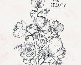 The beauty / A4 print, poster, art print, roses, flowers, bouquet of roses, bunch of flowers