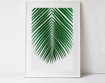 Tropical PRINTABLE Art, Palm Leaf Print, Botanical Art Print, Palm Print Tropical DIGITAL DOWNLOAD  Large Wall Art Print, Emerald Green Art