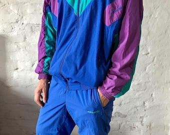 Vintage Adidas Block Colour Full Track-suit / Warm-up / Blue / Purple / Turquoise / Extra Large / 90's