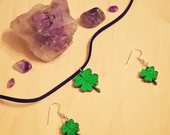 Wooden Green Four Leaf Clover Earrings & Necklace Set / Laser Engraved Wood / Bronze, Gold or Silver Metal or Black Leather Cord Options
