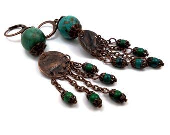 Stud Earrings boho hippie green Chrysocolla blue brass copper