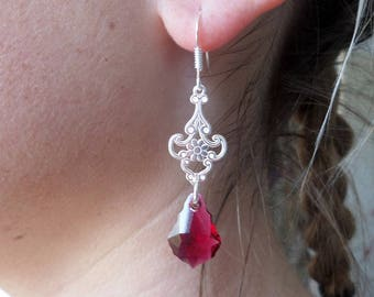 Ruby Red Silver earrings and drops Baroque Swarovski Crystal