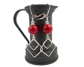 Stud earring, sterling silver beads in magenta red Kunzite, modern