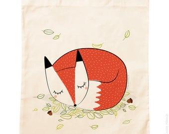 Tote Bag organic cotton * sleepy Fox *.