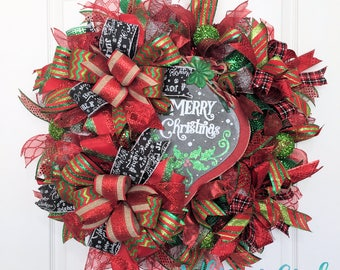 Merry Christmas Deco Mesh Wreath for Front Door - Holiday Deco Mesh Wreath - Christmas Wreath - Christmas Decorations - Front Door Wreath