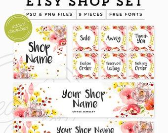 Etsy Shop Set Instant Download - Photoshop Branding Set Premade Etsy Branding Kit - Etsy Set - Floral Marketing Kit, PSD Etsy Shop Graphics