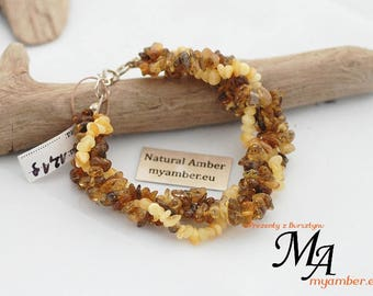 Colours of AMBER Braided Bracelet 12496 + Certificate Natural 19.0 cm