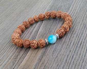 ON SALE!!! 8mm rudraksha seed bracelet and blue striped agate stone