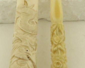 Vintage Chinese Hand Carved Bone Cigarette Holders w/ Asian Motifs of Dragons & Flowers