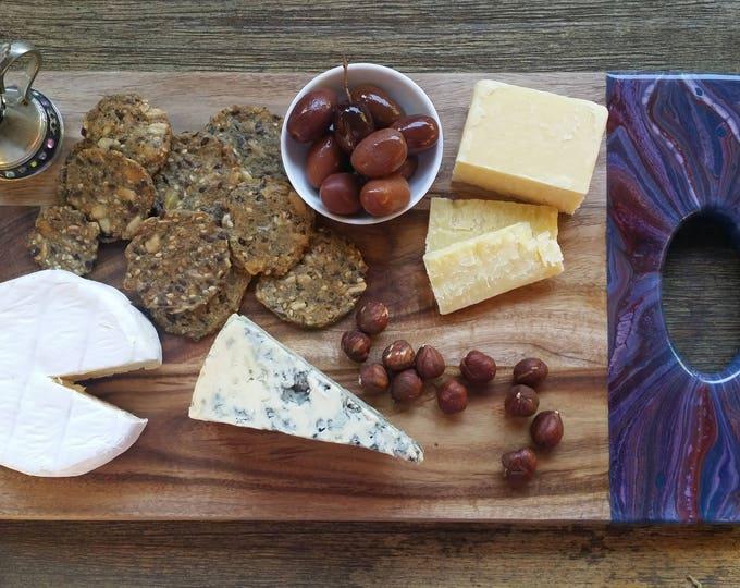 Acaciawood serving board, cheeseboard customised with original artwork