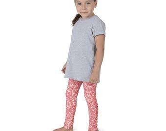 Leggings Girls Vermillion Yoga Pants for Kids, Red and White Children's Activewear
