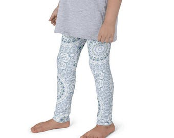 Leggings for Kids, Light Blue Mandala Patterned Girls Leggings, Children's Yoga Pants