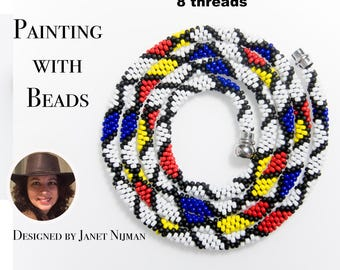 Kumihimo 8 threads pattern necklace tutorial Painting with Beads
