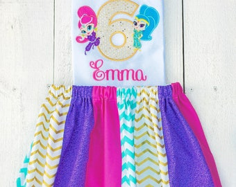 Shimmer and shine birthday shirt, shimmer and shine birthday outfit