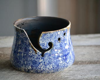 Large handmade pottery yarn bowl with blue flower pattern