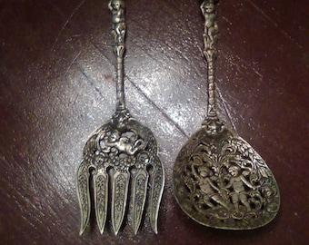Vintage Italian Fleur De Lis and Cherubs, Silver Fork and Spoon, Italy, Decorative