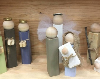 Rustic handmade wooden Nativity set