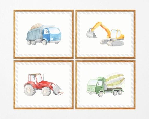 Construction Vehicles Prints Boys Room Printable Digger