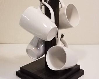 Coffee Mug Tree - Ebony Stain - Coffee Mug Stand - Coffee Cup Holder - Coffee Mug Rack - Coffee Mug Tree - Coffee Mug Holder