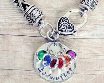 Godmother bracelet, Godmother gift, Godmother Jewelry, Birthstone bracelet, Silver birthstone, bracelet gift, Jewelry silver, bracelet