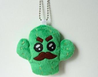 Keychain kawaii cactus plush green strong man - bag charm.