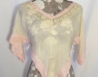 Vintage 1930s Silk Lingerie Capelet // S-L