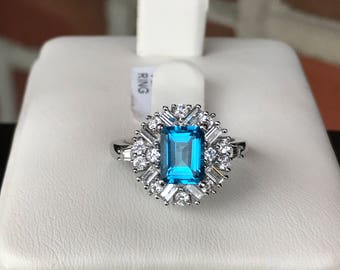 Vera Wang Sterling Silver Blue Topaz & Created White Sapphire Ring