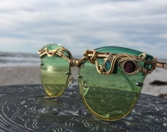 OPAL Sage Green Cat Eye Women's Sunglasses Gold Wire Wrapped Glasses SPUNGLASSES Real by the carat gems ~ Eyeglasses Eyewear FREE Shipping