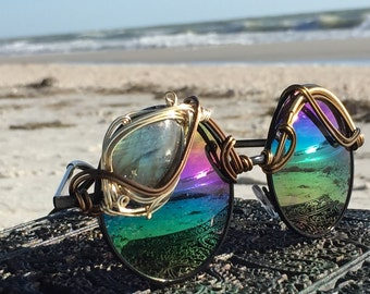 HUGE Labradorite Rainbow Reflective Round Sunglasses Women, Burning Man Festival Coachella Electric Forest Bassnectar Sunglasses NEW