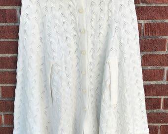 Vintage Off-White Poncho