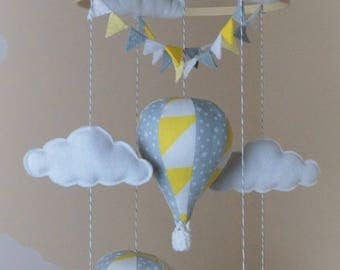 Unisex Hot air balloon baby mobile with bunting yellow triangle silver grey stars READY TO SHIP