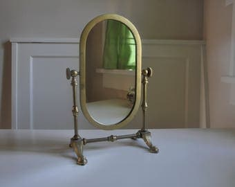 Standing Vanity Mirror   Vintage Brass Oval Mirror on Swivel StandSwivel vanity mirror   Etsy. Mirror On A Stand Vanity. Home Design Ideas