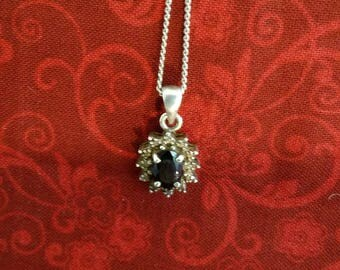 CP100 Vintage Sterling Silver Necklace with Sterling Silver Pendant with Blue Stone