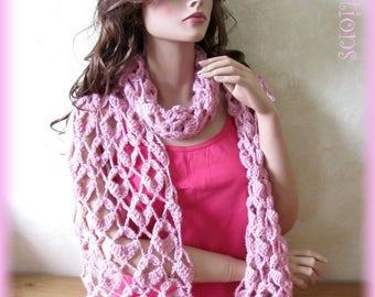 Lightweight scarf curls knitted hand crochet pink mohair