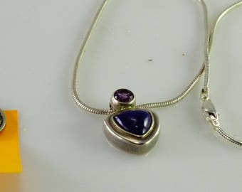 """Purple Stone Pendant 17"""" Snake Chain All Sterling"""