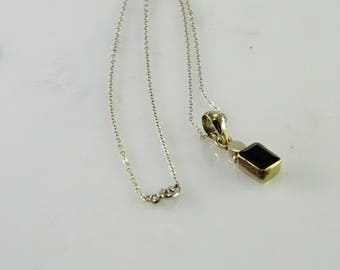 "Petite Onyx Pendant on a 18"" Chain All Sterling"