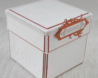 Girl First Holy Communion Invitation, Monochrome Invitation, Religious Ceremony Invitation Box, Butterfly Boxed Invite, IHS Exploding box