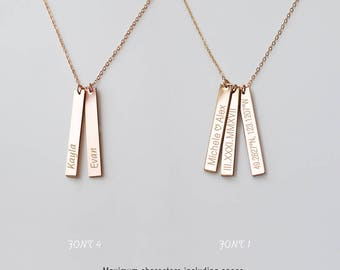 Personalized Bar Necklace, Coordinates Necklace, Bar Necklace, Latitude and Longitude, Anniversary Gift, Silver, Gold, Rose gold • NBV35x4M0