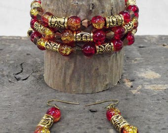 Gorgeous Handmade Red Glass and Gold-tone Bead One-of-a-kind3 Loop Memory Wire Bracelet and Earring Set