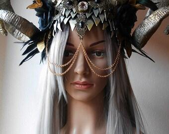 Horned headpiece, gothic headdress, faun, feather headpiece, masquerade, haute goth, demon horns